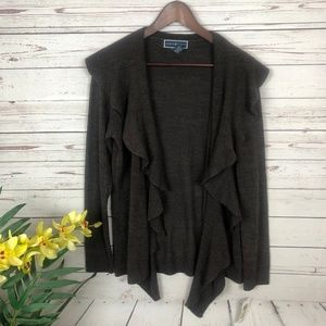 NWT Karen Scott Brown Open Cardigan - T9